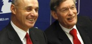 Rob Manfred (l.) has worked with Bud Selig (r.) and Major League Baseball since 1998.