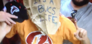 Bucs Fan with Bag on Head