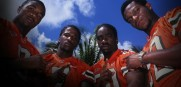 Former Hurricanes (from left) Mike Rumph, Al Blades, Ed Reed and Leonard Myers are featured in 'The U Part 2.'