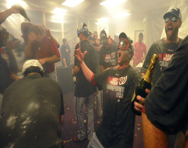 The Washington Nationals have some fun after clinching the NL East title last nigh