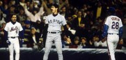 Boston Red Sox Bill Buckner after missing a slow roller hit by Mookie Wilson as the Mets win Game 6 of the 1986 World Series