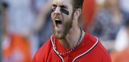 Bryce Harper reacts after scoring in the seventh and he would later homer in the ninth as the Nats win 4-1