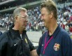 Sir Alex Ferguson  and  Louis van Gaal enjoy a laugh together. Ferguson is a big fan of the new United manager.