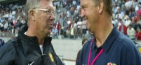 Sir Alex Ferguson  and  Louis van Gaal enjoy a laugh together. Ferguson is a big fan of the new United manager.