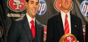 49ers CEO Jed York  and head coach Jim Harbaugh in happier times