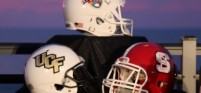 Bitcoin Bowl Helmets UCF NC State Contract Signing Party
