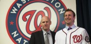 New Nationals pitcher Max Scherzer (right), with Washington manager Matt Williams at an introductory press conference Wednesday.