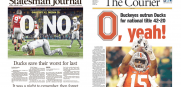 Ohio State Oregon national title news front pages