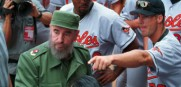 Baltimore Orioles players talk baseball with Cuban President Fidel Castro back in 1999
