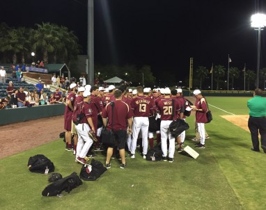 The Florida State Seminole huddle in Jacksonville after a 8-3 win over Florida.  Their first after a five game losing streak to the Gators.