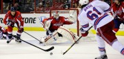 Rangers left wing Rick Nash (61) had his shot blocked by Washington Capitals goalie Braden Holtby