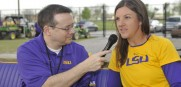 Beth Torina with LSU  Softball Radio Voice Patrick Wright. (Photo Courtesy of LSUSports.net)