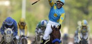 Victor Espinoza on American Pharoah, winner of the Kentucky Derby will race in the Preakness
