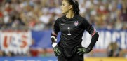 US goal keeper Hope Solo leads a defense that has not given up a goal on over 500 minutes